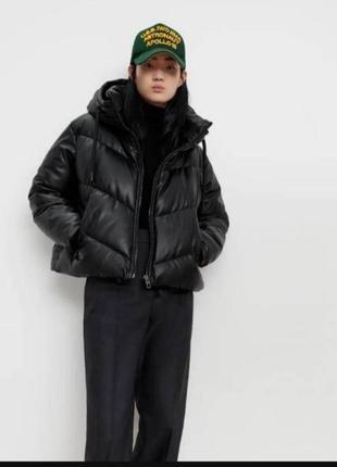 Зимняя кожаная куртка оверсайз