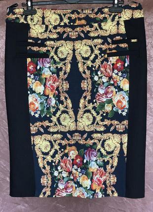 Фактурная юбка карандаш миди делового стиля цветочный принт da...
