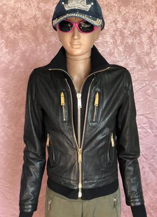 New байкерская кожаная куртка косуха бомбер dsquared2 оригинал...