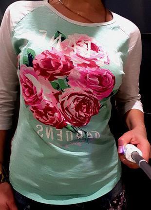 Реглан h&m джемпер свитшот нежный бирюзовый розовые розы кофта...