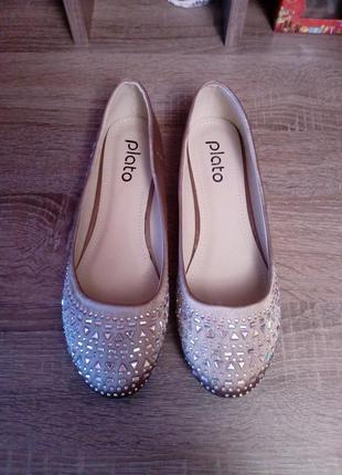 Сатиновые балетки туфли россыпь камней plato,размер 39