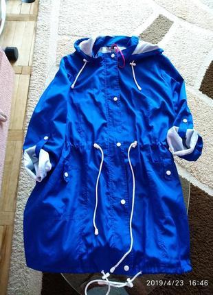 Синяя демисезонная куртка/ветровка simply be,размер 22(54)
