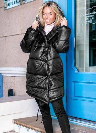 Асимметричная зимняя куртка стеганая черная