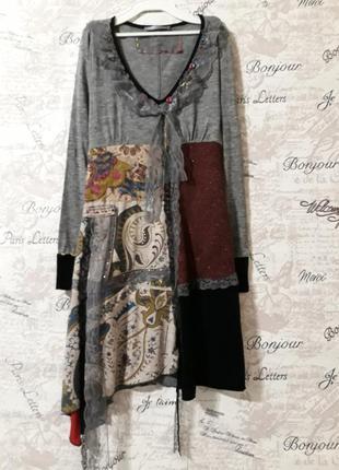 Дизайнерское платье в хипстерском стиле пэчворк