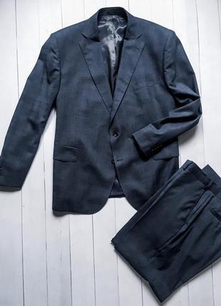 Мужской стильный деловой костюм m&s. пиджак + брюки. большой р...