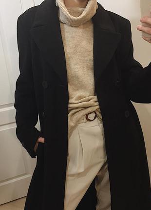 Кашемир+шерсть  длинное-макси пальто/пальто в пол из шерсти и ...