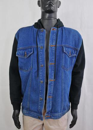 Мужская джинсовая куртка с капюшоном, джинсова чоловіча куртка