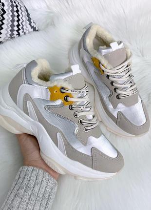 Зимние кроссовки на массивной подошве,стильные зимние кроссовк...