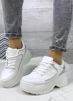 Белые кроссовки на платформе, белые кроссовки на массивной под...