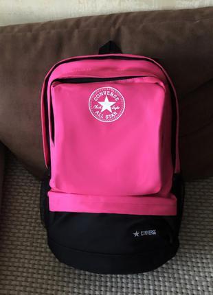 Женский рюкзак розовый спортивный тканевый