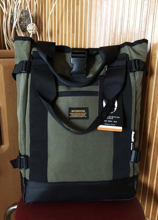 Вместительный мужской рюкзак-сумка городской, повседневный, дл...