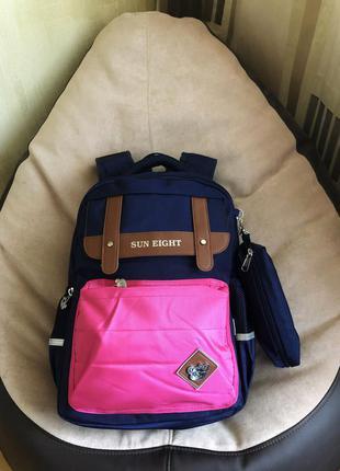 Детский школьный розовый рюкзак с пеналом для девочки 7- 8 - 9...
