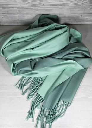 Теплый женский двухцветный кашемировый длинный зимний шарф-пал...