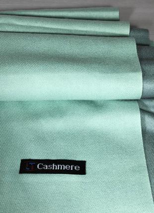 Двухцветный бирюзовый женский кашемировый шарф-палантин, темна...