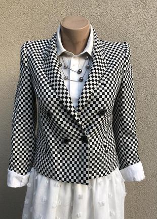 Черно-белый в клетку,укорочённый жакет,пиджак,блейзер,34% хлоп...