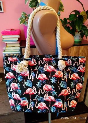 Эко-сумка/шоппер холщовая с розовым фламинго linea home