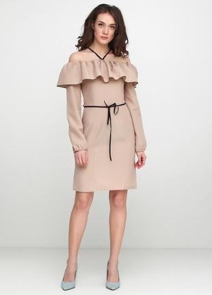 Скидка! бежевое 👗👠коктейльное платье с воланами anvi gator