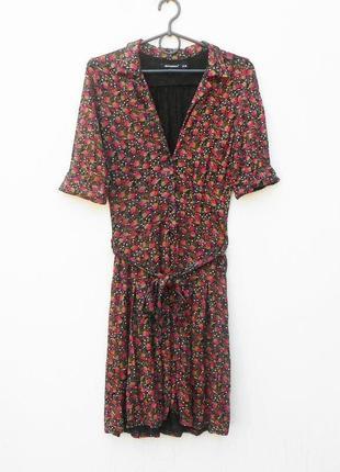 Трикотажное платье - халат их вискозы с коротким рукавом с вор...