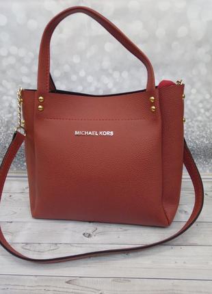 Красная сумка шоппер Майкл Корс