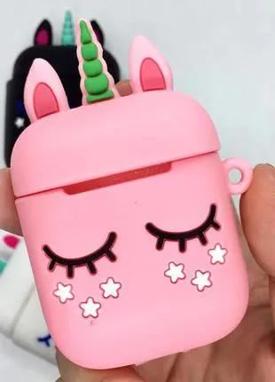 Чехол футляр для наушников Apple AirPods Единорог розовый