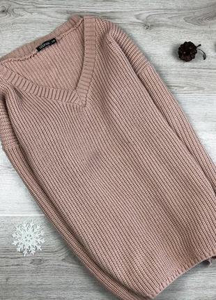Крутой длинный свитер/джемпер цвета капучино boohoo