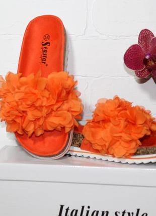 Шлепанцы seastar на пробковой подошве оранжевые