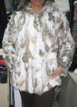 Шуба из натурального меха кролика с капюшоном