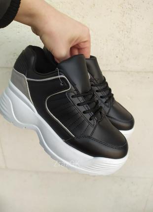 Черные кроссовки ботинки криперы на толстой подошве