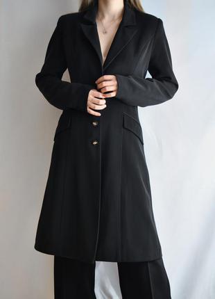 Пальто винтажное приталенное черное классическое винтаж vintag...