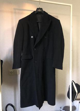 Винтажное прямое шерстяное пальто двубортное в стиле balenciag...