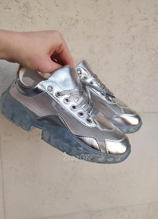 Sale серебристые прозрачные кроссовки кеды на прозрачной подошве