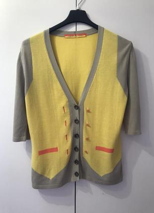 Кофточка на пуговицах marc cain sports 3 размер ярко желтая
