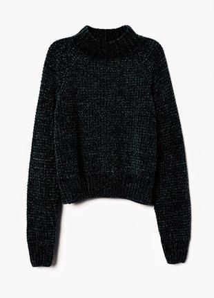 Мягенький велюровый темно-зелёный свитер, свитшот