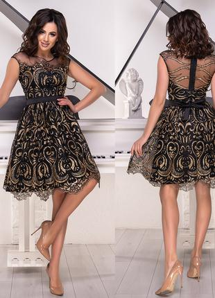 Блестящее короткое вечернее платье, размер М