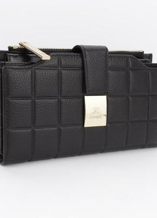Кошелек женский кожаный 6911 черный, 20 ячеек для карт