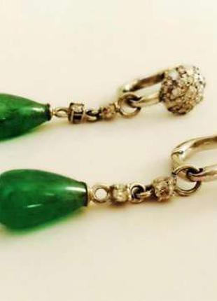 Продам уникальные серьги, золото, бриллианты, изумруды