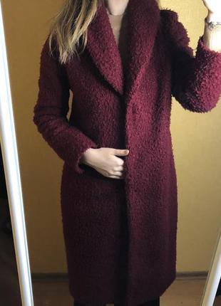 Женское буклированое пальто шуба цвет марсала