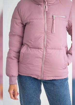 Куртка женская с манжетами, однотонная, на молнии, розовая, м,...