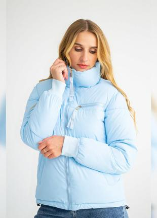 Куртка женская с манжетами, однотонная, на молнии, голубая, ос...