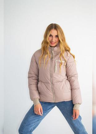 Куртка женская с манжетами, однотонная, на молнии, бежевая, 42...
