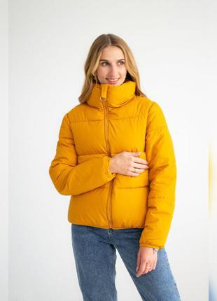 Куртка женская однотонная, на молнии, цвет - горчица, осенняя,...