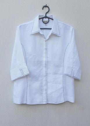 Белая льняная рубашка с воротником manon