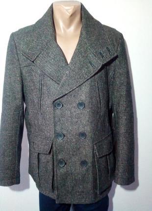 Двубортное пальто-бушлат с добавлением шерсти french connection