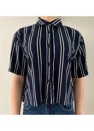 Рубашка в полоску, синя з білим рубашка з короткими рукавами, ...