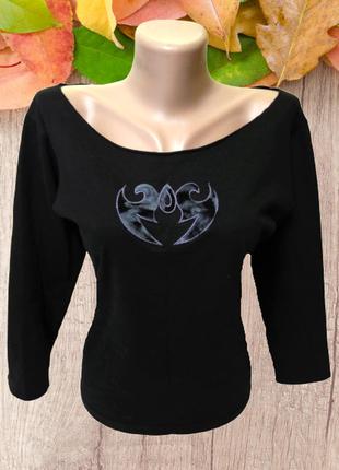 Черная футболка из хлопка banjara с большим круглым вырезом и ...