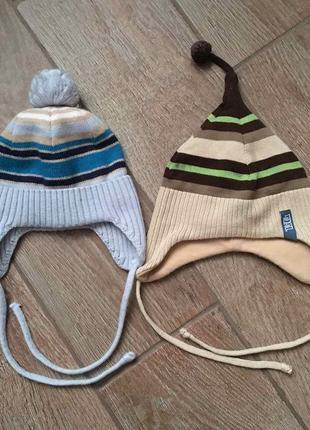 2 шапочки для новорожденных 1-4мес