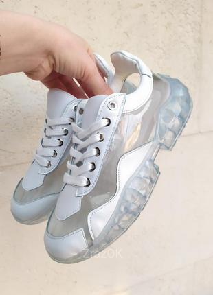 Sale белые прозрачные кеды на прозрачной подошве кроссовки