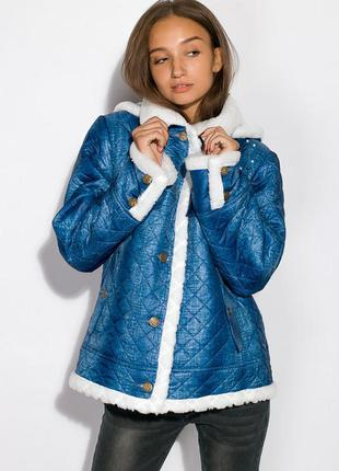 Куртка женская зимняя с бусинками на меху синяя