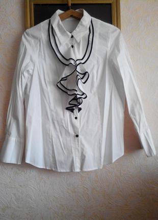 Шикарная блуза белоснежная с объёмными воланами в офис/праздни...