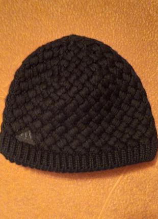 Шерстяная двойная шапка на флисе  adidas logo beanie